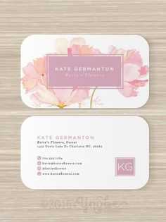 Floral business card faux gold foil florist flowers pink artist floral business card florist monogram watercolor pink reheart Gallery