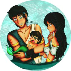 """""""…You're certain this is the same child you were cradling in your arms mere moments ago?""""    """"Fairly certain, dear.""""    -    Because I had random underwater royalty feels. Poseidon and Amphitrite being the young, awesome parents they are to Triton"""