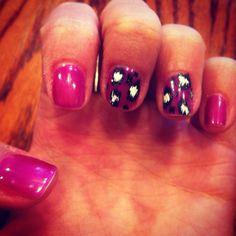 Gelish nail polish with cheetah print design