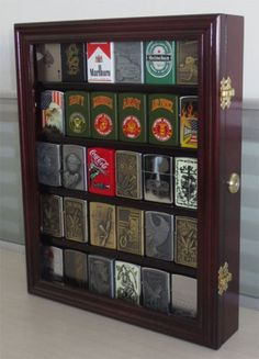 Lockable, Zippo Lighter Display Case Wall Cabinet, Solid Wood