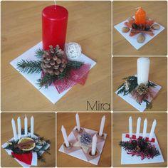 dlaždičky, svíčky, mašle, šišky, dekorace