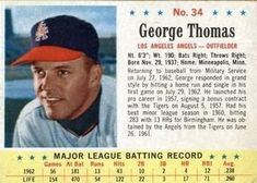 1963 Post Cereal #34 George Thomas | The Trading Card Database Lee Thomas, The Outfield, Trading Card Database, Trivia, Cereal, Baseball Cards, Quizes, Breakfast Cereal, Corn Flakes