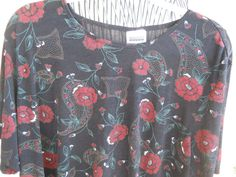 Bentley 3X PlusBlouse Top Stretchy Black Burgundy Floral Used Great Condition #TRBentley #Blouse #Career