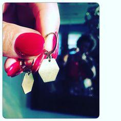 Lightweight Brass Geometric Drop Earrings  by StudioLaTouche