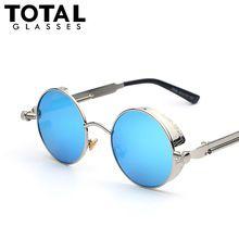 097a206aca Gothic Steampunk Mens Sunglasses Coating Mirrored Sunglasses Round Circle Sun  glasses Retro Vintage Gafas Masculino Sol