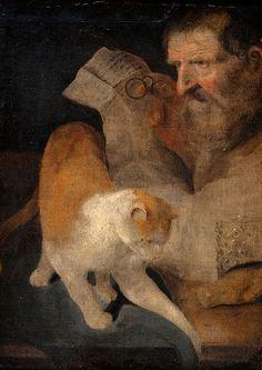 Einen Brief lesender alter Mann mit seiner Katze., Christopher Paudiss (German, 1618-1666)