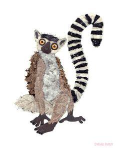 Ringtailed Lemur Art Print by NicholasBrancati on Etsy, $21.00