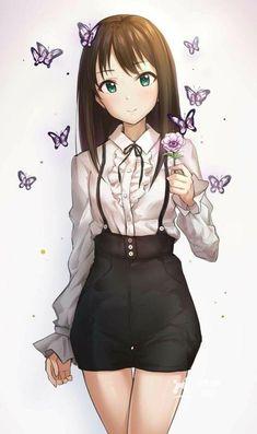 Anime Girl with butterflies - BL Manga Kawaii Anime Girl, Manga Kawaii, Pretty Anime Girl, Cool Anime Girl, Beautiful Anime Girl, Anime Art Girl, Anime Love, Anime Girls, Anime Girl Dress