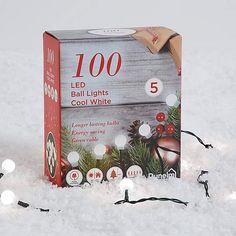 100 LED Warm White Ball Lights   Dunelm