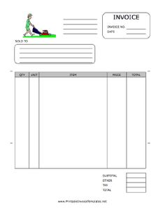 a printable invoice for use by a landscaping or yard maintenance firm featuring a full - Free Printable Invoice