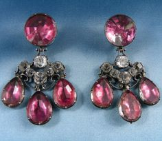 Girandole earrings. Pink and white pastes, close set in silver. Probably French, early 18th century. Length: 65 mm