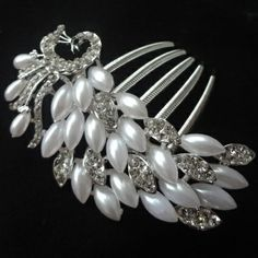 White Crystal Pearl Flower Hair pins. Bride Party Woman Hair jewelry. Girls Hair Accessories Fashion hair combs peacock $6.20