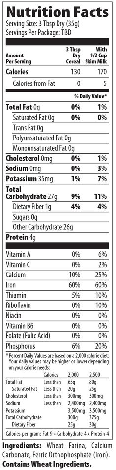 nutrition facts for creamy hot wheat hot cereal by malt-o-meal