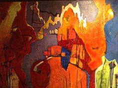 Schilderij Lia Stout, titel: ontmoeten