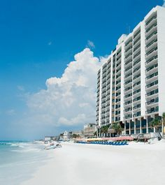 Beachfront at the Landmark Holiday Beach Resort in Panama City Beach, FL  - a Bluegreen Vacations resort. #BluegreenResorts #BluegreenVacations