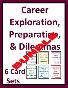 6 interactive career card sets enable students to explore career options, weigh job benefits / trade-offs, solve workplace dilemmas, apply job skills, and answer job interview questions. SAVE 40% with this bundle (NEWLY EXPANDED).Use as a fun cooperative group activity, daily warm-up, or engaging brain tickler for career exploration, life skills, business, vocational, or CTE students.