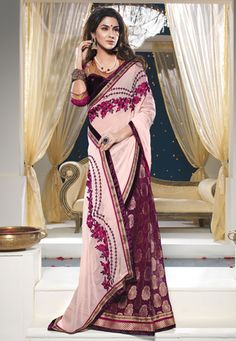 Pink and Burgundy Faux Georgette and Viscose Saree with Blouse Online Shopping: SKK17083