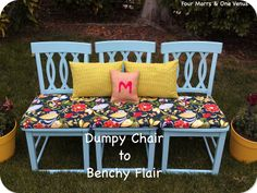 Dumpy Chair to Benchy Flair!  By Four Marrs & One Venus  {DIY Chairs into Bench}