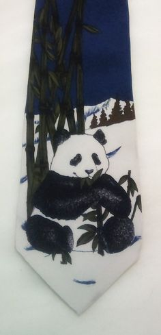 Vintage Giant Panda World Wildlife Fund Mens Silk Necktie, Panda Bears,  novelty tie by KitschArts on Etsy