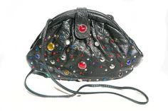 Vintage 1980's Black Jeweled Vegan Croc Skin Crossbody Bag