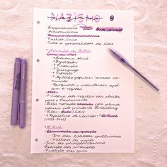 Resumo sobre nazismo 🙆🏻♀️🧠 ⠀ Vocês gostam de roxo? Deixem nos comentários ✨ ⠀ Até o próximo post. Com amor, Arizinha 🌻 ⠀ #resumos… Creative Notebooks, Study Motivation, I School, Study Tips, Bullet Journal, Notes, Lettering, Education, Instagram