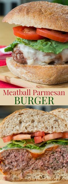 Meatball Parmesan Burgers - transform the classic Italian comfort food recipe into a juicy hamburger topped with tomato sauce and cheese. #SundaySupper | cupcakesandkalechips.com