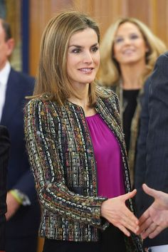Queen Letizia of Spain attended an audience with National Commission for the Rationalization of Spanish Hours at Palacio de la Zarzuela on 09.01.2015 in Madrid