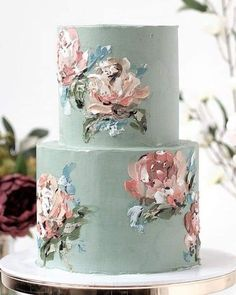 2019 Wedding Trends: What's Hot for 2019 - Wedding Cakes - Gateau Cute Cakes, Pretty Cakes, Beautiful Cakes, Amazing Cakes, Wedding Cake Designs, Cake Wedding, Wedding Ceremony, Painted Wedding Cake, Wedding Cake Flowers
