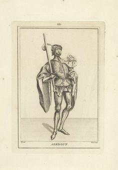 Hendrik Spilman | Portret van Arnulf, graaf van Holland, Hendrik Spilman, Anonymous, 1745 | Portret van Arnulf, graaf van Holland, staande naar rechts in een harnas en een mantel. Op zijn schouder het wapen van Holland en in zijn hand een zwaard. Midden boven: III.