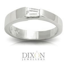 Minimalist Diamond Solitaire Engagement Ring with a Tapered Baguette Cut Set in an Assymetrical East-West Style. Solitaire Engagement, Solitaire Ring, Diamond Rings, Ear Rings, Minimalist Jewelry, Baguette, Custom Jewelry, Wedding Rings, Jewels