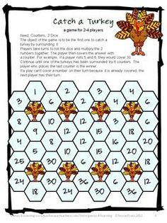 Catch a Turkey Multiplication Game - Turkey Math Games Multiplication and Division from Games 4 Learning Turkey math to make multiplication fun! $