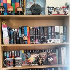 Image result for bookshelves with pop vinyl