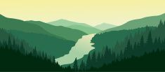 Beautiful mountain landscape with the river in the valley. vector art illustration