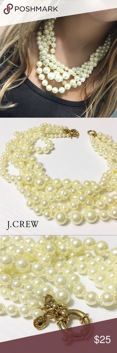 "J. Crew Factory Multistrand Pearl Necklace This beautiful multi-strand pearl necklace from J. Crew is perfect with just about anything you wear it with. In like-new condition. 21"" long, acrylic pearls. A lighter version of J. Crew retail's twisted hammock pearl necklace. Questions? Please ask! Sorry, no trades. Bundle for a discount! Ships SAME day (EST) - New name brand jewelry added daily so check back often! J. Crew Jewelry Necklaces"