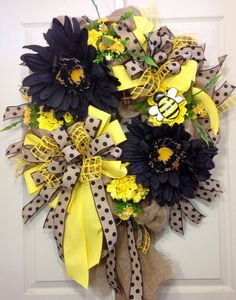 Summer Wreath Mesh Wreath Bumble Bee Black and by WilliamsFloral, $119.00