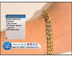 1.40 ctw Diamond Round 18K Yellow Gold Bracelet Length 7.5 inches