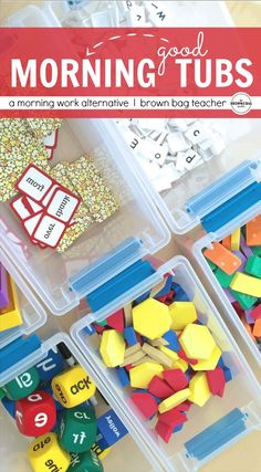 A Grade Morning Work Alternative is part of Kindergarten morning work - A morning work alternative, Morning Tubs offer Primary Students a playbased opportunity to explore, create, and build social skills First Grade Classroom, 1st Grade Math, Kindergarten Classroom, Classroom Activities, Classroom Organization, Grade 1, Classroom Ideas, Classroom Management, Second Grade