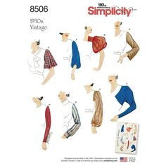 Simplicity Vintage pattern circa 1930 features a set of sleeves to add to other top and dress bodices. Pattern includes 8 sleeve styles and a guide to match sleeves to bodice patterns.