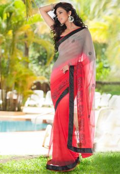 Shaded #Grey and Red Faux Chiffon and Net #Saree with Blouse
