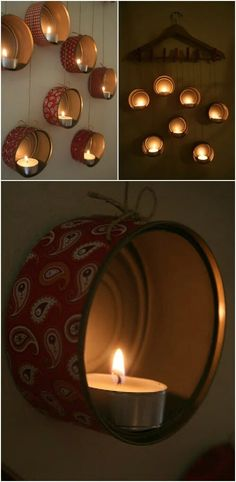 Jaw-Dropping Ideas for Upcycling Tin Cans Into Beautiful Household Items! Beautiful Tin Can Lamps for Ambient Lighting - for back fence? MoreBeautiful Tin Can Lamps for Ambient Lighting - for b. Aluminum Can Crafts, Tin Can Crafts, Coffee Can Crafts, Upcycled Crafts, Diy Crafts Recycled Materials, Recycled Decor, Recycled Tires, Repurposed, Diy Halloween House Decorations