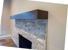 Modern cherry mantel with charcoal stain - Traditional - Living Room - other metro - by Custom Corners LLC