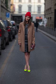 Ohhh, aaahhhh....some neon shoes. I love shiny objects and a beanie. #MFW. Rock it.