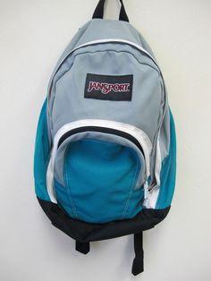 Jansport Aqua Gray and White Backpack VGUC bookbag #JanSport #Bookbag