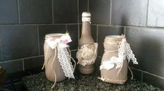 Vintage lace hand painted bottles & jars in cocoa  & creams with rolled roses wedding home decor