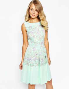 Tahari Prom Skarer Dress In Watercolour Floral Print UK 10/EU 38/US 6 rrp £140