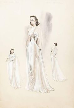 Costume sketches of Cyd Charisse for Silk Stockings (MGM, Helen Rose was the costume designer on this film. Vintage Dress Patterns, Vintage Dresses, Vintage Outfits, Vintage Fashion, Vintage Clothing, Vintage Style, Old Hollywood Glamour, Hollywood Fashion, Fashion Images