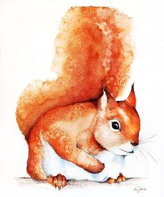 ARTFINDER: red squirrel by Karolina Kijak - Original watercolors of red squirrel Paper 300g,  100% cotton size 23x29cm  Follow me on facebook: https://www.facebook.com/kijakwatercolors