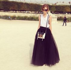 Full tulle skirt // cotton tank // Cinderella casual