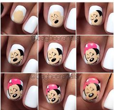 Nails and manicure step by step. New Nail Art, Cute Nail Art, Cute Nails, Pretty Nails, Minnie Mouse Nail Art, Mickey Nails, Mickey Mouse, Diy Ongles, Nail Art Disney
