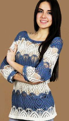 [club60393515|Пуловер]<br>#Пуловеры@v.k.uyutnoyevyazaniye<br><br>Размер: 50. <br> <br>Материалы: <br> <br>- 400 г пряжи темно-голубого цвета (100% акрил, 450 м/100 г), <br> <br>- 400 г пряжи белого цвета такого же качества, <br> <br>- круговые спицы № 3. <br> <br>Резинка 2 на 2: лицевые ряды - по..
